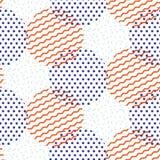 Абстрактные геометрические формы поставили точки и striped картина вектора кругов Стоковое Фото