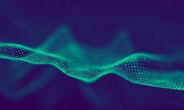 Абстрактные голубые геометрические частицы на фиолетовой предпосылке Структура соединения Предпосылка сини науки футуристическо стоковая фотография rf