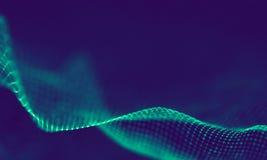 Абстрактные голубые геометрические частицы на фиолетовой предпосылке Структура соединения Предпосылка сини науки футуристическо стоковое фото