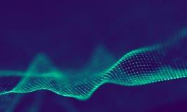 Абстрактные голубые геометрические частицы на фиолетовой предпосылке Структура соединения Предпосылка сини науки футуристическо стоковые фотографии rf