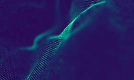 Абстрактные голубые геометрические частицы на фиолетовой предпосылке Структура соединения Предпосылка сини науки футуристическо стоковое фото rf