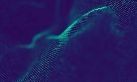 Абстрактные голубые геометрические частицы на фиолетовой предпосылке Структура соединения Предпосылка сини науки футуристическо стоковое изображение