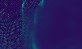 Абстрактные голубые геометрические частицы на фиолетовой предпосылке Структура соединения Предпосылка сини науки футуристическо стоковое изображение rf