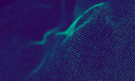Абстрактные голубые геометрические частицы на фиолетовой предпосылке Структура соединения Предпосылка сини науки футуристическо стоковые фото