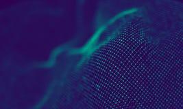 Абстрактные голубые геометрические частицы на фиолетовой предпосылке Структура соединения Предпосылка сини науки футуристическо стоковая фотография