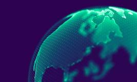 Абстрактные голубые геометрические частицы на фиолетовой предпосылке Структура соединения Предпосылка сини науки футуристическо стоковые изображения