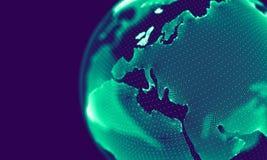 Абстрактные голубые геометрические частицы на фиолетовой предпосылке Структура соединения Предпосылка сини науки футуристическо стоковые изображения rf