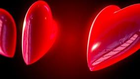 Абстрактные графики движения CGI с сердцами летания видеоматериал