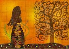 Абстрактные девушка и дерево иллюстрации Стоковые Изображения RF