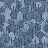 Абстрактные декоративные деревья - безшовная картина, ткань голубых джинсов иллюстрация штока