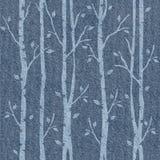 Абстрактные декоративные деревья - безшовная картина - ткань голубых джинсов иллюстрация вектора