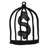 Абстрактные деньги эскиза doodle притяжки руки в клетке на белой предпосылке Стоковые Изображения