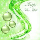 Абстрактные зеленые волны на белой предпосылке с снежинками и шариками рождества бесплатная иллюстрация