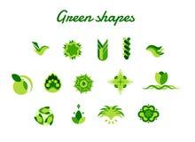 Абстрактные зеленые значки вектора логотипа окружающей среды Иллюстрация вектора