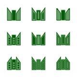 Абстрактные зеленые простые установленные значки логотипа здания Стоковая Фотография