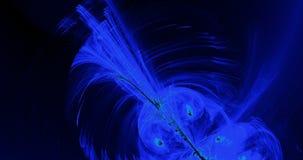 Абстрактные картины на темной предпосылке с голубыми линиями частицами кривых видеоматериал