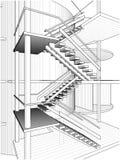 Абстрактные конструкции лестницы линии вектора иллюстрация вектора
