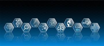 Абстрактные концепция и значок технологии предпосылки в голубом свете, мозге и человеческом теле излечивают Стоковые Фото