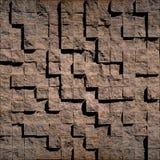 Абстрактные коричневые каменистые кубы Стоковые Фотографии RF