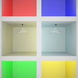 Абстрактные коробки с лампами Бесплатная Иллюстрация