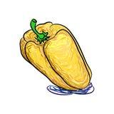 Абстрактные красивые перцы желтого цвета вектора, изолированные на белой предпосылке Стоковые Изображения RF