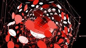 Абстрактные красные развевая решетка 3D или сетка пульсируя геометрических объектов Польза как абстрактная окружающая среда космо иллюстрация вектора