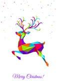 Абстрактные красочные низкие поли олени рождества треугольника Стоковые Изображения