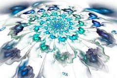 Абстрактные красочные синь и бирюза цветут на белой предпосылке Стоковое Изображение RF
