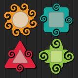 Абстрактные красочные установленные значки рамки форм спирали иллюстрация штока
