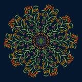 Абстрактные круговые картины зеленый цвет, красный цвет, пурпур, желтый на темной предпосылке иллюстрация вектора