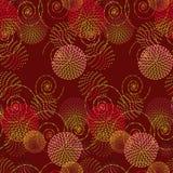 Абстрактные круг и спираль на красной предпосылке Стоковые Фото