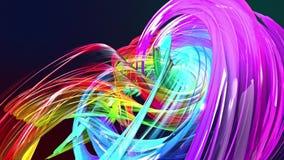 Абстрактные линии в движении как безшовная творческая предпосылка Красочные нашивки переплетают в круговом образовании Закрепленн видеоматериал