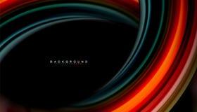 Абстрактные линии жидкие нашивки волны цвета стиля радуги на черной предпосылке бесплатная иллюстрация