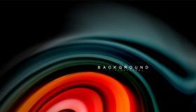 Абстрактные линии жидкие нашивки волны цвета стиля радуги на черной предпосылке Стоковая Фотография