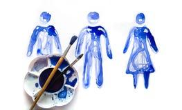 Абстрактные люди Сделанный красивых влияний watercolour Собрание текстурированное Watercolour Стоковые Изображения