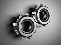 Абстрактные металлические железные шестерни Cogwheel работы Стоковая Фотография