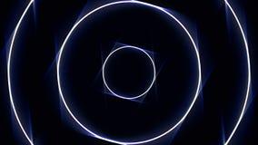 Абстрактные неоновые круги прокладывают тоннель, безшовная петля сердитой Белые и голубые круги двигая бесконечно в тоннель на че бесплатная иллюстрация