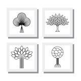 Абстрактные органические векторы логотипа значков линии деревьев - eco & био дизайн Стоковая Фотография