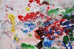 Абстрактные пастельные голубые розовые желтые красные голубые темные цвета и оттенки Абстрактная влажная предпосылка краски Пятна стоковая фотография rf