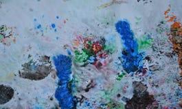 Абстрактные пастельные голубые розовые голубые темные цвета и оттенки Абстрактная влажная предпосылка краски Пятна картины стоковые изображения