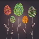 Абстрактные пасхальные яйца как заводы цветка, иллюстрация вектора иллюстрация штока
