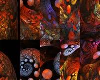 Абстрактные пестротканые головоломки с орнаментом фантазии на черной предпосылке Стоковые Фотографии RF