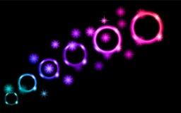 Абстрактные, пестротканые, неоновые, яркие, накаляя круги, шарики, пузыри, планеты с звездами на черной предпосылке космоса Задня Стоковые Изображения