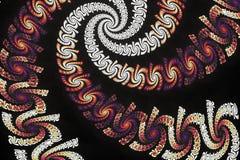 Абстрактные пестротканые психоделические спирали на черной предпосылке Стоковые Фотографии RF
