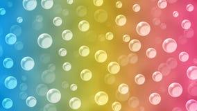 Абстрактные плавая пузыри в голубой, желтой и розовой предпосылке стоковое изображение