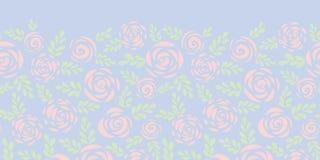 Абстрактные плоские розы и листья тонкий пинк и голубая безшовная граница вектора Флористический силуэт Картина цветка для валент иллюстрация вектора
