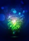 Абстрактные примечания музыки и предпосылка сини светов Bokeh Стоковая Фотография RF