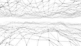 Абстрактные простые черно-белые развевая решетка 3D или сетка как фон Серая геометрическая вибрируя окружающая среда или пульсиро иллюстрация вектора