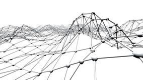 Абстрактные простые черно-белые развевая решетка 3D или сетка как элегантная окружающая среда Серая геометрическая вибрируя окруж иллюстрация вектора