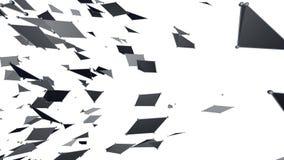 Абстрактные простые черно-белые развевая решетка 3D или сетка как кибернетическое поле Серая геометрическая вибрируя окружающая с иллюстрация штока